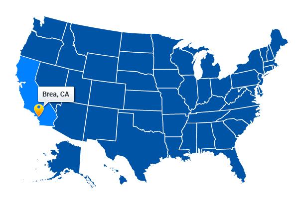 Brea California Map Web Design & Development in Brea, CA   B3Inc. Brea California Map