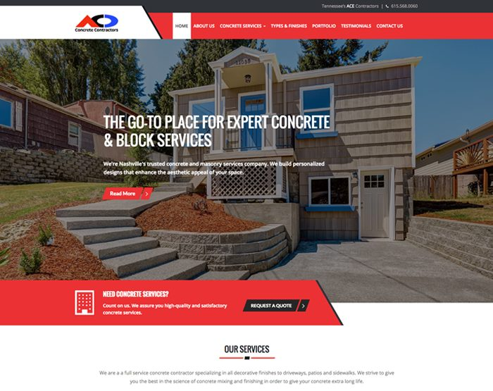 Custom wordpress design orange county wordpress for Concrete home contractors